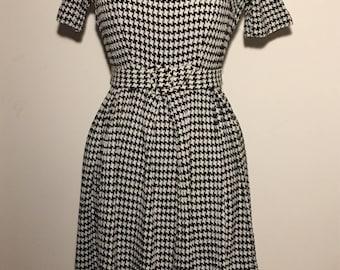 Vintage 50s Houndstooth Jacuard Dress