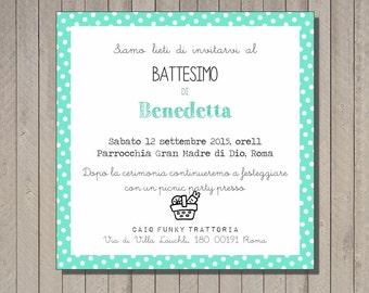 PDF, Baptism invitation card with polka dot, printable custom birthday invititation- baby shower diy