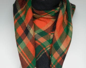 Green and Orange Plaid Scarf, Winter Scarf, Plaid Scarf, Large Triangle Plaid Scarf, Plaid Shawl, Blanket Scarf, Women's Scarf, Ladies Gifts