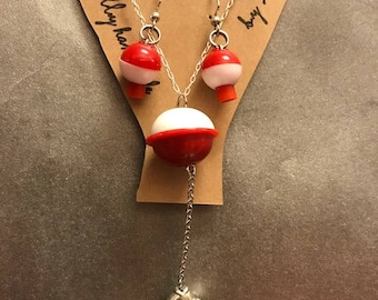 Authentic Hand Made Alaskan Bobber Y-Necklace & Earring Set