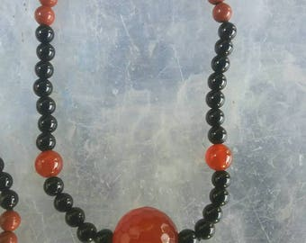 Carnelian, Onyx, and Quartz long beaded Necklace.  Handmade, one of a kind