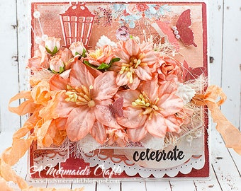 Shabby Chic Floral Celebrate Birthday / Anniversary / Promotion Greeting Card