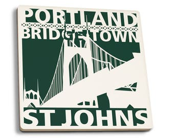 Portland, Oregon - St. Johns Bridge - LP Artwork (Set of 4 Ceramic Coasters)