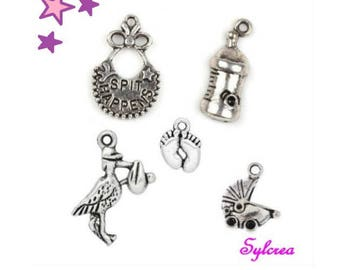 5 Charms 24 14 mm baby blend: foot bottle Stork bib cradle metal silver