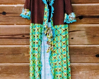 OOAK Womens Duster Jacket in Brown and Turquoise w/ Dragonfly on Back Vintage Lace Wings and Trm Upcycled Eco-Friendly Designer Garment SML