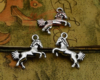 15pcs 23x16mm Antique Silver Horse Charms Pendants