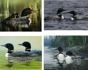Lot Of 12 Loon Bird Fabric Panel Quilt Squares