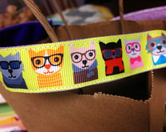 NOODLE HUGGER Non slip ribbon headband - hipster dogs and cats - 7/8 inch (running, working out, everyday: women and girls)