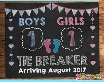 Tie Breaker Announcement Prop - Baby Pregnancy Announcement Prop - Printable Pregnancy Photo Prop - DIY Pregnancy Card - DIY Pregnancy Prop
