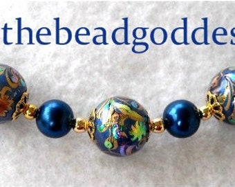 """New Exciting Japanese TENSHA Bead Design PEACOCK BLUE 12mm 7 Piece 3.5"""""""