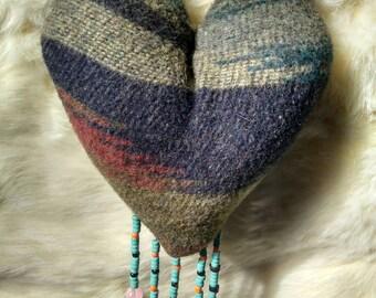 Heart shaped wool wall hanging