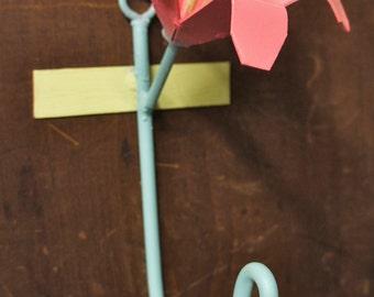Modern Iron Iris Flower Hook #1