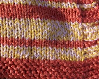 Baby Blanket, Orange/Pumpkin Yellow Pink Striped Baby Blanket,  Handknitted by hipknitta