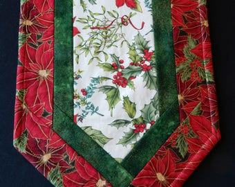 Friendly red poinsettias and holly Christmas table runner - reversible for the rest of the year