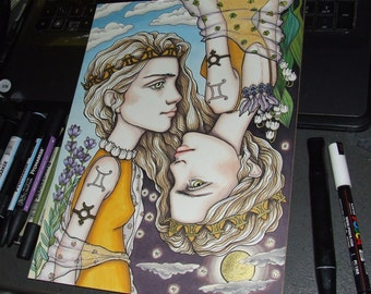 Gemini - original pen and ink illustration by Tanya Bond