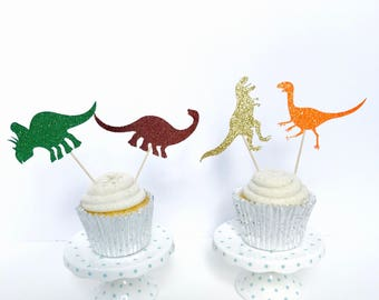Dinosaur cupcake toppers/ Dino cupcake toppers/ dinosaur party/ set of 12