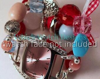 Königin der Herzen... Liebling rot, Rosa und hellblau austauschbaren Perlen Armband