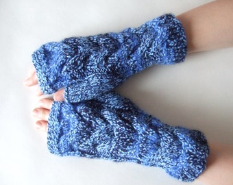 Knitted of ANGORA and acrylic. Multicolor ( BLUE ) fingerless gloves, wrist warmers, fingerless mittens. HANDMADE gloves. Cable gloves.