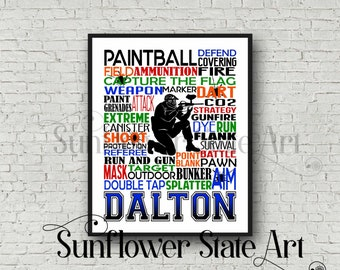 Personalized Paintball Poster, Paintball Birthday, Paintball Print, Paintball Personalized, Paintball Decor, Paintball Typography