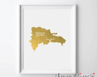 Dominican Republic Map Gold Foil Print, Gold Print, Map Custom Print in Gold, Art Print, Map of Dominican Republic Gold Foil Art Print