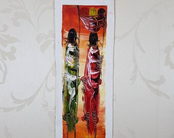 African Canvas Oil Painting. African Art. Canvas Oil Painting. Tribal Art. East African Art. Handmade Canvas Painting