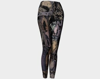 Steampunk leggings for women, owl pattern, abstract yoga pants by Felicianation Ink
