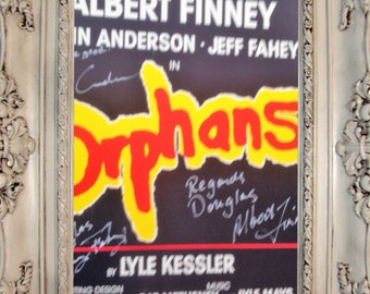 Vintage cast signed theatre poster from the show Orphans at the Apollo theatre