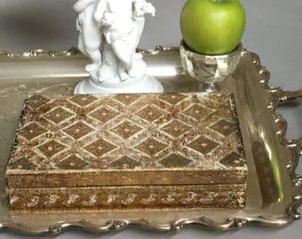 Florentine Box / Florentine Wood Box / Gold Italian  Jewelry Box / Gidled Trinket Box