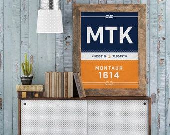 Montauk Print - New York Recycled Sail Style Poster, Nautical Nursery, Beach Décor, Beach House Art, Sailboat, Vacation Gift, Fathers Day
