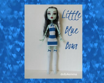 "SALE = Monster High 17"" Doll Clothes - Blue Striped Dress + Thigh-High Stockings + Jewelry - Handmade custom fashion by dolls4emma"