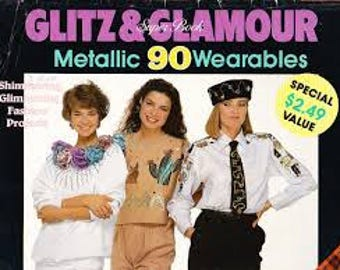 Glitz & Glamour Super Book - Metallic, Wearables - 90 Easy Projects - Pattern Book - Vintage 1990's - UNUSED