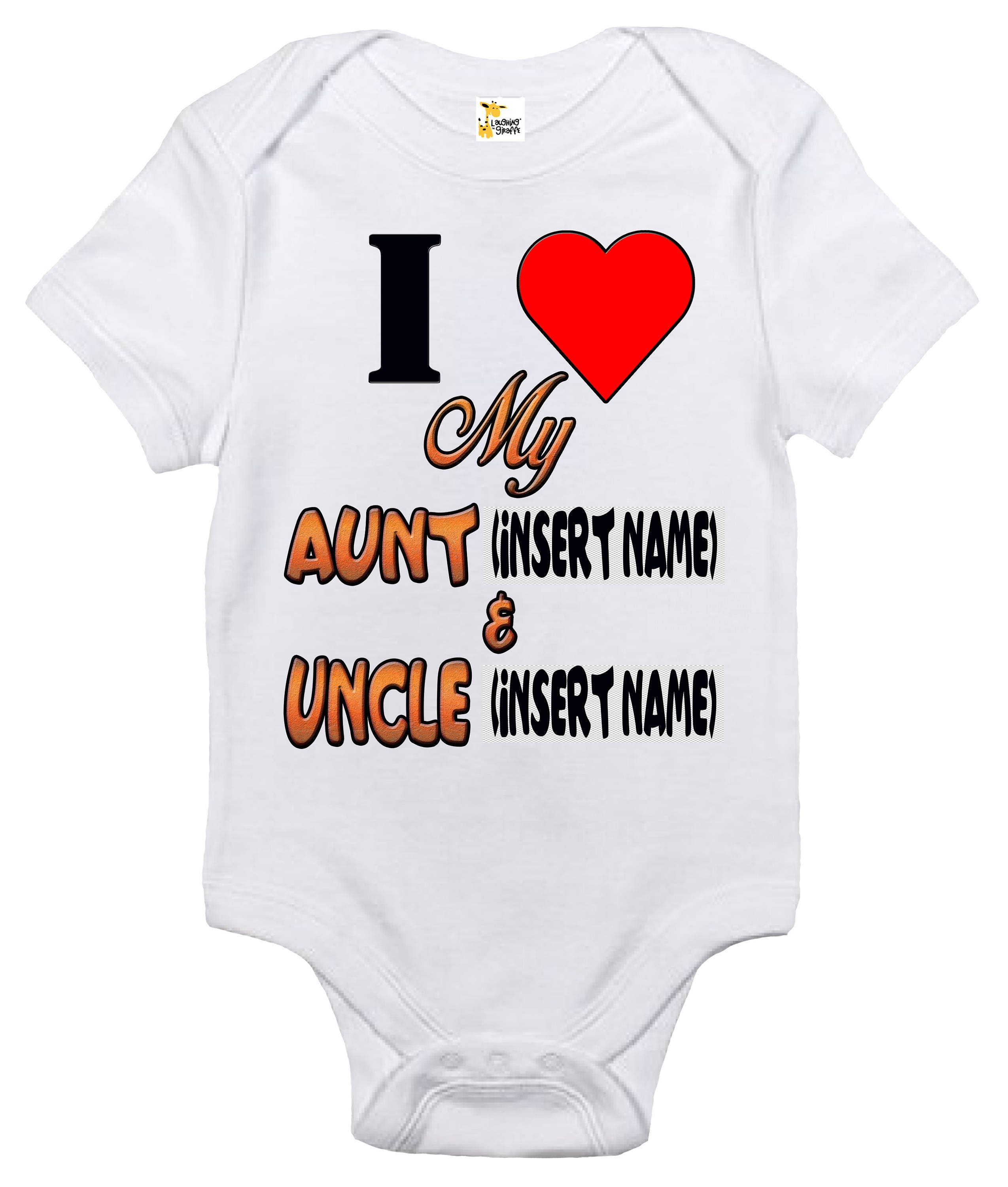 Baby Bodysuit Custom Personalized I Love My Aunt and Uncle