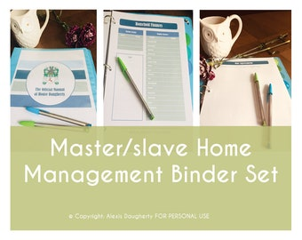 Master/slave Printable Home Management Binder, BDSM Binder, Home Planner Printables, Dominance & submission, 8.5 x 11 Letter Size, Planner
