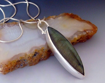 Labradorite Marquis Shaped Necklace - Sterling Silver - Gift Idea - Green - Yellow Shiller Flash - Long Necklace - Statement Necklace