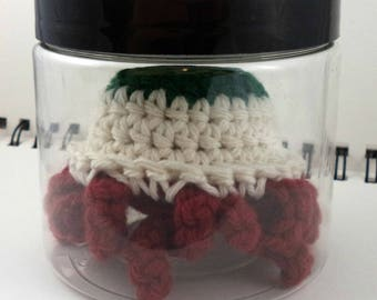 Jar with Giant Dark Green Crocheted Eyeball with Red Tentacles (SWG-EY015)