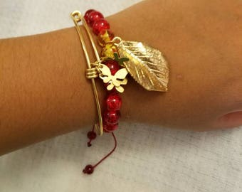 Gold plated leave red bracelet- stainless steel butterfly bangle.
