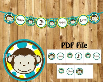 Monkey Banner Happy 1st Birthday Mod Boy Party supplies Jungle It\u0027s a