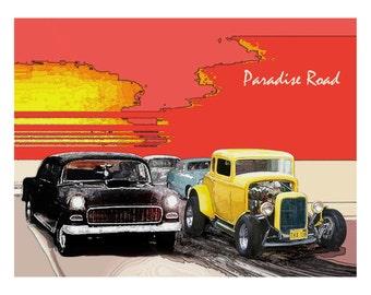 American Graffiti Print PARADISE ROAD Car Art