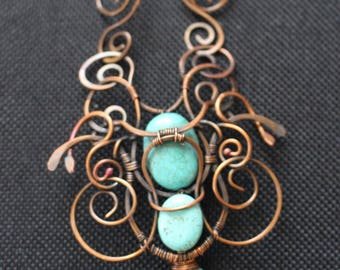 Turquoise pendant, copper Wirework, scrolls, large statement piece. womans necklace