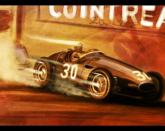 Vintage Grand Prix Automotive Art 8x12 Metallic Print