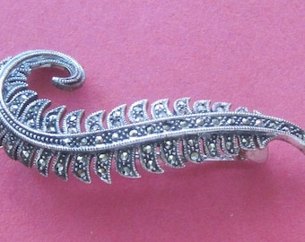 Marcasite Brooch Vintage Sterling Silver Marcasite Feather Brooch