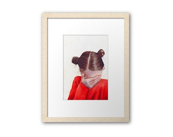watercolor painting print / hidden face / digital print / art illustration / girl hair buns / red shirt / face palm / emotional / HM085
