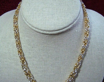 Graduated Byzantine Necklace, two toned gold and silver
