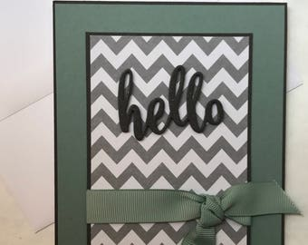 Modern Chevron Hello Handmade Greeting Card (grey, ocean tides/dark sage)