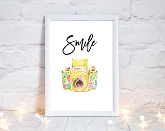 Smile Print, camera gifts, Photography prints, camera print, floral print, floral camera quote, camera art, positive quotes, inspirational