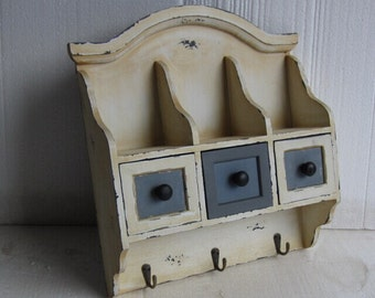 French Provincial Rustic White Cafe Home Hang Wall Kitchen Cabinets Hooks Shelve