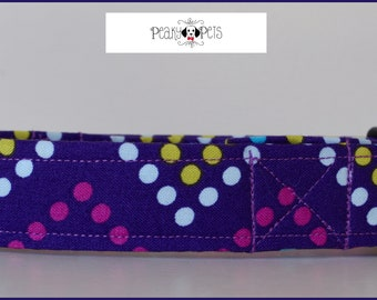 Purple funky spotty fabric dog collar