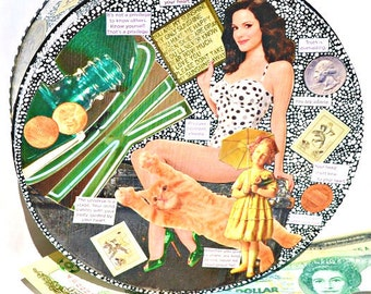 """Upcycled Pin Up Art Canister - Hand-Painted Emerald and Gold Decoupage Decor Tin - """"Sunshine on a Rainy Day"""""""