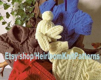 Baby Child Aran Jackets Cap Mittens Knitting Pattern PDF 4 Jacket Versions Boy Girl Aran Worsted  18-28'' 9M-9yrs Instant Download PDF - 289