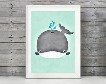 Blue Whale Nursery Art, Watercolor Whale Wall Art, Boy Nursery Whale Art, Humpback Whale Nursery, Whale Baby Art, Baby Whale Decor